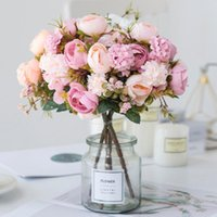 Silk Artificial Flowers Tea Rose Hydrangea Daisy Autumn Hybrid Bouquet Vases For Home Decor Wedding Decoration Fake Decorative & Wreaths