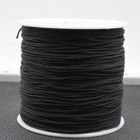 Оптовая черная 100-килограмма / пачка 0,8 мм смешанный цвет нейлон черный атлас китайский узел шелковистый макрометр шнур бисера плетеная нить