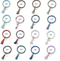 Tassels Keyring Bracelets Party Gifts Wristlet Keychain Bracelet Circle Key Ring Bangle Fashion Chain For Women Multi Colors BWD8670