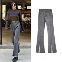 Jeans Femininos Flare Mulheres Split Design High Street Empire All-Match Moda Harajuku Verão Fino Quadro De Qualidade Bolsos Respirável Soft