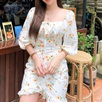 Casual Dresses Retro Women White Sun Flower Dot Print Mini Dress Sexy Puff Sleeve Slim Waist Spliced Ruffles Hem Party