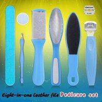 Kits d'ongles Kits Peeling Pédicure Outil de pédicure Huit pièces en acier inoxydable Fichier de pliage de la peau morte Papier de verre