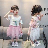 Vísteo de verano para niños Vestido lindo Pequeñas niñas Falda de moda Use Versión coreana 1-4 años de edad Conjuntos de ropa