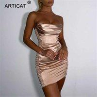 ARTICAT Bodycon Party DrFor New Year 2021 Women Satin BacklClub Clothes Off Shoulder StraplVestidos Woman's Elegant X0529