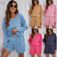 Women's Tracksuits 2021 Autumn Winter Sweatshirt Shorts Sets Women Plus Velvet Split Hooded Thickened Casual Home Suit
