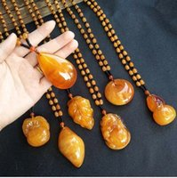 Vintage Beeswax Amber Pendant Resin Beads Sweater Chain Necklace Bohemia Vintage Ethnic Long Beads Necklace Waterdrop Charms Jewelry Gift