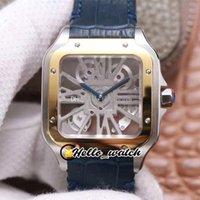 TWF Tom Holland Dumont Whsa0012 mens relógio esqueleto suíço ronda 4s20 relógios mecânicos analógicos de quartzo dois tons ouro azul strap hwrx hello_watch