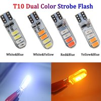 50Pcs T10 W5W 194 168 5630 8SMD LED Dual Color Strobe Flash Silicone Bulbs For Car Clearance Lamps License Plate Lights 12V