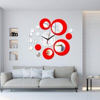 Wall Clocks 3D DIY Modern Acrylic Circle Shaped Mirror Fashion Stickers Clock For Household Living Room Decoration