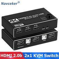 Navceker KVM Switch Dual Monitor 2 In 1 Out DP Ports 4K 60Hz Share Printer Keyboard Mouse 1080 Audio Cables & Connectors