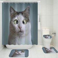 القطط الحيوانات الأليفة دش ستارة مجموعات البوليستر 4 أجزاء الحمام مجموعة السجاد غطاء المرحاض للأطفال الكبار الحيوانات جميلة حمام حصيرة الستائر
