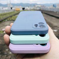 Lyx Original Square Liquid Silicone Phone Fodral för iPhone 12 Mini 11 Pro Max XS X XR 7 8 Plus SE 2 Slim Soft Candy Case Cover
