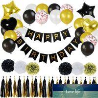 65 teile / los Black Gold Ballons Banner Happy Birthday Decoration Set Star Heart Folie Ballon Kinder Erwachsene Geburtstagsfeierbedarf