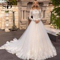 Autres robes de mariée Sodigne Elegant Country 2021 Dentelle Appliques une ligne à manches longues Robes de mariée à manches longues