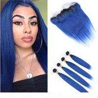 # 1b حزم أومبير الأزرق مع الجذور السوداء الجذور والأزرق الداكن أومبير البرازيلي مستقيم النسيج الشعر البشري 4 حزم مع الدانتيل أمامي 13x4quo
