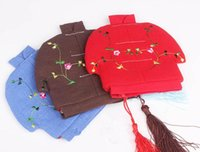 Gift Wrap 10pcs Chinese Embroidered Zip Bags Small Cotton Linen Christmas Pouches Tassel Coin Purse Wedding Party Favor