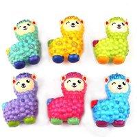 Squishy colorido Alpaca Emulación de rebote lento Pan de animales 10 cm Kawaii Squishies Arco iris Cat Squeeze DecomPression Toys Regalos Favor