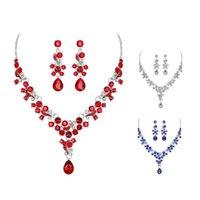 Orecchini collana donna moda e orecchini set floreale tricolore strass nozze da sposa con fotogallo in cristallo gioielli per il partito femminile regalo