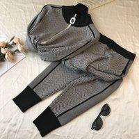 Women's Two Piece Pants Inverno coreano com nervuras impresso agasalho 2 peça calças ternos para as mulheres de malha manga longa duas peças conjunto superior e 905P