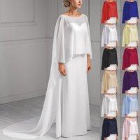 Wraps & Jackets Wedding Bridal Chiffon Long Cape Dinner Party Formal Lady Cloak O-neck Prom Women Shawl Elegant High-low Wrap White Pink Bla