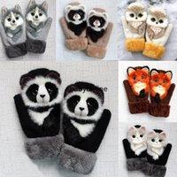 Мультфильм животных перчатки осенью и зимнее тепло с пальцами более 11 стилей мультфильм плюшевые вязаные женские перчатки