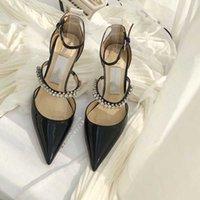 Moda Diseñador de lujo Sandalias de diseño de verano Banquete de verano Zapatos de tacón de tacón sexy de tacón de tacón de cabeza puntiaguda con punta eslinga espalda mujer zapato zapato superior de calidad UE
