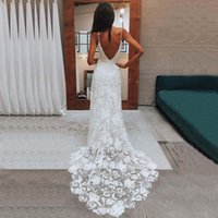 2021 Latest Beach A Line Lace Bridal Wedding Gowns Backless Plunge V Neckline with Straps Wedding Dress for Bride Sexy On Sale