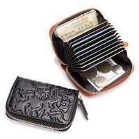 Leather Cardholder Holder Card Women Organizer Compact Credit Case CreditCard Mini Wallet Extendable Zipper Pcgtd