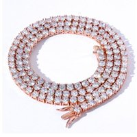 Tennis Chain Necklace Iced Out Cubic Zirconia Copper Choker Hip Hop Jewelry Men Women Gold Silver Color 3mm 4mm 5mm 6mm 1 Row Pendant Neckla