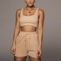 Casual Solid Sportswear Two Piece Sets Women 2021 Crop Tops Drawstring Shorts Matching Set Summer Athleisure Outfits Tracksuit