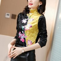 Women's Blouses & Shirts Blouse Printed Vintage Tops For Women Long Sleeve Floral Women-clothing Plush Half High Neck Patchwork Basic