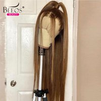 Lace Wigs Honey Blonde 13x4 Front Human Hair Straight Bleached Knots Brazilian For Women Preplucked With Baby