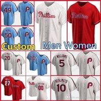 Personalizado 10 J.T. RealMuto Phillies 3 Bryce Jersey Harper Baseball Mike Schmidt Aaron Nola Rhys Hoskins Didi Gregorius McCutchen Roman Men