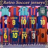 Jersey de football rétro Barcelone 96 97 07 08 09 10 11 Xavi Ronaldinho Ronaldo Rivaldo Guardiola Iniesta Finales Messi Maillot de pied 1899 1999
