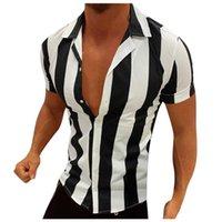 Men's Casual Shirts Business Men Turn Down Collar Short Sleeve Vertical Stripes Button Slim Shirt Fashion Tops Male Clothing
