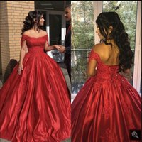 Vestido De Festa red satin ball gown prom dresses off the shoulder short sleeve beaded sequins sweetheart neck Evening gowns
