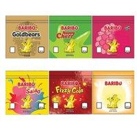Baribo Lezzet 600 mg Mylar Çanta Gummies Baggie Toz Geçirmez Fermuar Paketi Koku Geçirmez Yerler Sigara Tütün Kuru Herb Çiçekleri için Boş Paketleri