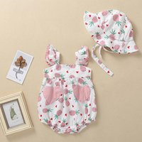 Rompers Baby Girls Flying Sleeve Bodysuit Pineapple Print BODYSUIT+Sunsuit Hat Outfits Born Square Collar Clothes