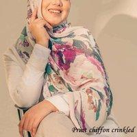Mujeres Plain Bubble Chiffon Hijab Scarf Printe Crinke Head Long Shwls Wrap WeeDeband Ladies Turban Foulard Muslim Bufandas