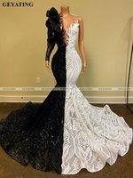 Черно-белые блестки девочек выпускные платья 2021 с длинным рукавом русалка африканское платье для женщин элегантные формальные вечерние платья вечеринка