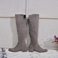 Martin Pearl Boots Женщины Длинные Обувь Замшевые над бедроным коленом бисером Chunky 2021 каблук мода осенью кожаные ботинки высокие новые дамы MU DTVOM