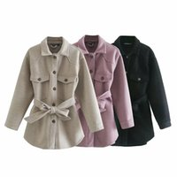 Abrigos Invierno 2021 Blends Thick Belted Coat Women Gabanes Mujer Trench Jacket Outerwear Solid Womens Women's Wool &