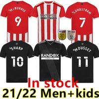 2021 2022 Sheffield Futbol Formaları Mousset Birleşik 21 22 McBurnie Lundstram Fleckhome Away Futbol Gömlek Norwood Keskin Erkekler + Çocuk Forması
