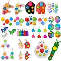 Fidget oyuncaklar duyusal renkli basit gamalı anahtarlık itme kabarcık hoppers topları anahtarlık unicorn kelebek kabarcıklar unzip sürpriz figet oyuncak toptan