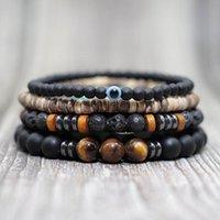 Beaded, Strands Antique 4 Pcs Set Handmade Beads Bracelet Boho Wooden Lava Evil Eye Braclet For Men Wristband Wrap Jewelry Homme