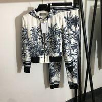 İki Parçalı Setleri 2021 Sonbahar Kapüşonlu Uzun Kollu Baskı Ceket Ve Pantolon Marka Aynı Stil 2 Parça Setleri Kadın 0718-9