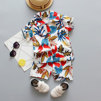 Baby Clothes Set Boys Floral Printed Tpo+Pants 2Pcs Sets Short Sleeve Holiday Beach Outfit Summer Kids Clothing BT6612