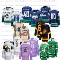 Personalizado Vancouver Canucks Hockey Jerseys 6 Brock Boeser 33 Henrik Sedin 10 Pavel Bure 22 D.Sedin 35 Thatcher Demko