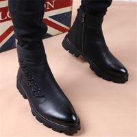 italian brand designer mens leisure cowboy boots natural leather platform shoes black autumn winter ankle boot short botas male 211023