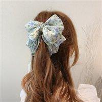 Corée Style Pince à cheveux Sweet Vertical Clip mignon Mousseline de mousseline Floral Bow Banana Clip Panora Porte-Ville Femmes Fashion Cheveux Accessoires 366 Q2